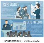 public speech to live audience... | Shutterstock .eps vector #395178622