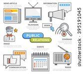 flat line public relations... | Shutterstock .eps vector #395191045