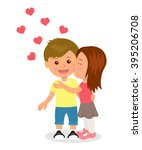 first love. boy and girl... | Shutterstock .eps vector #395206708