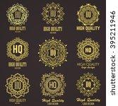 golden elegant monogram with... | Shutterstock .eps vector #395211946
