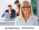 smiling business woman with her ... | Shutterstock . vector #39522451