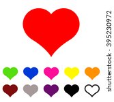 set of  red heart vector icon ...