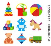 set of kids toys in a flat... | Shutterstock .eps vector #395240278