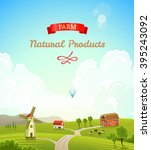 farm rural landscape background.... | Shutterstock .eps vector #395243092