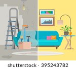 room before and after repair.... | Shutterstock .eps vector #395243782