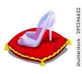 a glass slipper on a red pillow.... | Shutterstock .eps vector #395246632