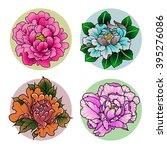 peonies set flowers in...   Shutterstock .eps vector #395276086