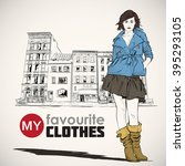 fashion girl on a street... | Shutterstock .eps vector #395293105
