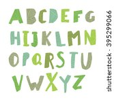 leaf cut alphabet. easy edited... | Shutterstock .eps vector #395299066