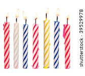 Set Of Colored Birthday Candle...