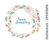 greeting card with dream... | Shutterstock .eps vector #395305696