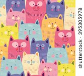 Stock vector cute cats colorful seamless pattern background 395305978