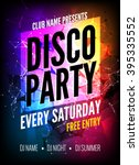 disco party poster template.... | Shutterstock .eps vector #395335552