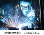 worker with protective mask... | Shutterstock . vector #395393512