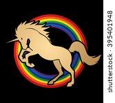 unicorn silhouette designed on... | Shutterstock .eps vector #395401948