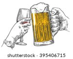 two hands clink a glass of beer ... | Shutterstock .eps vector #395406715
