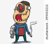 scary robotic human | Shutterstock .eps vector #395423212