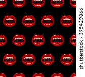 seamless pattern with red lips  ... | Shutterstock .eps vector #395429866