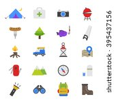camping flat color icons | Shutterstock .eps vector #395437156