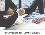 business handshake and business ... | Shutterstock . vector #395438398