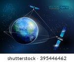 earth orbit with satellite.... | Shutterstock .eps vector #395446462