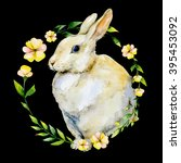 watercolor rabbit with yellow... | Shutterstock . vector #395453092