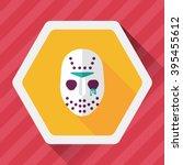 halloween mask flat icon with...