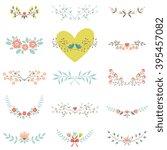 vector set of floral elements... | Shutterstock .eps vector #395457082