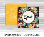 card template of space. moon ... | Shutterstock .eps vector #395469688