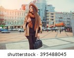 happy young pretty woman with... | Shutterstock . vector #395488045