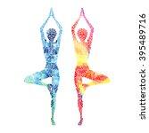 vector yoga illustration in... | Shutterstock .eps vector #395489716