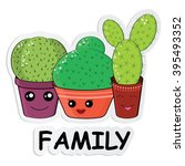 hilarious family of cacti on a... | Shutterstock .eps vector #395493352