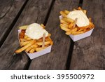 belgian pommes frites. two...   Shutterstock . vector #395500972