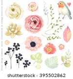 Collection vector flowers ranunculus, anemone, succulent, Robin bird, wild Privet Berry, green branches and leaves in vintage watercolor style. | Shutterstock vector #395502862