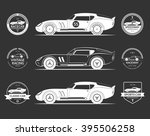 Stock vector set of retro classic sports racing car silhouettes and vintage car service labels emblems logos 395506258