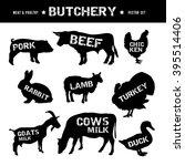 butchery shop silhouettes... | Shutterstock .eps vector #395514406