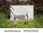 Small photo of MEMORIAL STONE FOR QUENTIN ROOSEVELT - JULY 02, 2012. Memorial stone at the crash site where 1st Lieutenant Quentin Roosevelt, son of Theodore Roosevelt, died on July 14, 1918, Chamery, France.