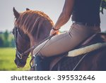 Stock photo woman riding on a brown horse 395532646