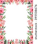 frame with watercolor pink... | Shutterstock . vector #395538676