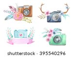 set of watercolor photo camera... | Shutterstock . vector #395540296