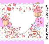 cute photo frame. baby shower... | Shutterstock .eps vector #395544625