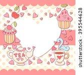 cute photo frame. baby shower... | Shutterstock .eps vector #395544628