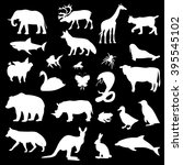 set of silhouettes of animals... | Shutterstock .eps vector #395545102