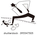 business man set foot on the... | Shutterstock .eps vector #395547505