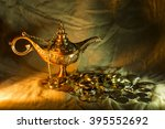 Small photo of Aladdin's lamp and Romanian coins