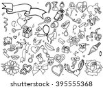 valentine day coloring line art ... | Shutterstock . vector #395555368