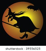witch and bats on sky... | Shutterstock . vector #39556525