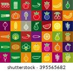 vegetables  berries and fruits...   Shutterstock .eps vector #395565682