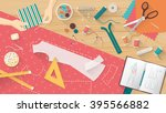 tailor working and sewing a... | Shutterstock .eps vector #395566882