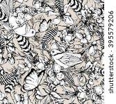 black and white vintage garden... | Shutterstock .eps vector #395579206